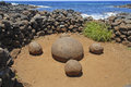 Ahu te pito kura navel of the world rapa nui easter island chile Stock Image