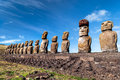Ahu tongariki moais at easter island rapa nui chile Royalty Free Stock Photos