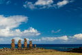 Ahu vai uri on rapa nui with vast pacific ocean as background Royalty Free Stock Photos