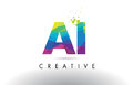 AI A I Colorful Letter Origami Triangles Design Vector.