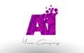AI A I Dots Letter Logo with Purple Bubbles Texture.