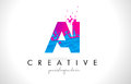 AI A I Letter Logo with Shattered Broken Blue Pink Texture Design Vector.
