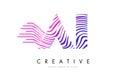 AI A I Zebra Lines Letter Logo Design with Magenta Colors