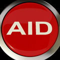Aid button means help assist or rescue meaning Stock Image