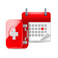 Aid and calendar icon Royalty Free Stock Photos