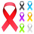 Aids ribbon set of color ribbons Royalty Free Stock Images