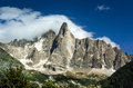 Aiguille de midi chamonix alps mountains france outdoor scenery in chamonis with midi ridge m Stock Photo