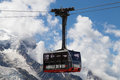 Aiguille du midi cable car to the summit of the from chamonix mont blanc france Royalty Free Stock Photos