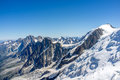 Aiguille du midi clasic route to mont blanc on alps chamonix Royalty Free Stock Photography