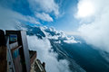 Aiguille du midi the or the needle of the midday mountain top in france Royalty Free Stock Photos