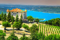 Aiguines castle with St Croix lake in background, Provence, France, Europe Royalty Free Stock Photo