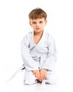 Aikido boy fighting position Stock Image