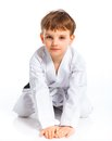 Aikido boy recreation position Royalty Free Stock Photo