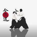Aikido illustration men are engaged in on a light background Royalty Free Stock Images