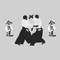 Aikido illustration men are engaged in on a light background Royalty Free Stock Photo