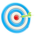 Aim and bull's-eye: dart thrown to exact center Royalty Free Stock Images