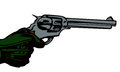 Aiming with a revolver hand comic book retro style illustration Royalty Free Stock Images