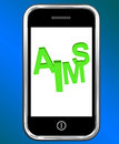 Aims On Smartphone Shows Targeting Purpose And Aspiration Royalty Free Stock Photo
