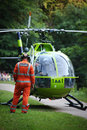 Air Ambulance Action in Bristol Oldbury Court Park Royalty Free Stock Photo