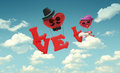 Air balloon man and woman character on sky blue Stock Photos