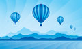 Air balloon in the sky vector skyline illustration Royalty Free Stock Images