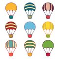 Air balloons samples nine on the white background Royalty Free Stock Image