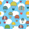 Air balloons seamless texture on the sky background Stock Image