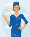 Air beautiful hostess. Stewardess holding ticket in her hand. Woman in official clothes