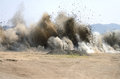 Air blast last of rock at a hill removal project to extend an airport runway in roseburg oregon Stock Image