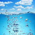 Air bubbles rise from the bottom Royalty Free Stock Photo