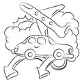 Air and car travel line art an image of a plane drawing Royalty Free Stock Image