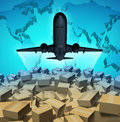 Air cargo shipping concept airplane flying above large group mail courier packages three dimensional map world as global overseas Royalty Free Stock Photos