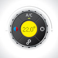 Air condition gauge with yellow led bright Stock Photography