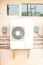Air conditioner compressor units or Refrigeration plant at outdoors building Royalty Free Stock Photo