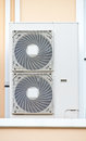 Air conditioner condensing unit cdu twin fans Stock Image