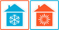 Air conditioning symbol warm and cold in home with silhouette Stock Photography