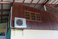Air conditioning units installed outside the house