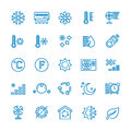 Air conditioning vector line icons. Temperature, humidity, drying, cooling and heating pictograms Royalty Free Stock Photo