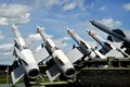 Air defense missiles aimed at the sky Stock Image