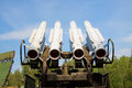 Air defense missiles anti aircraft on position Stock Photo