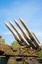 Air defense missiles anti aircraft on position Stock Images