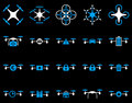 Air drone and quadcopter tool icons icon set style flat vector bicolor images blue white symbols on a black background Stock Photo
