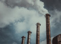 Air emissions and global warming plant for the production of sulfuric acid dangerous toxic in the atmosphere Stock Photos
