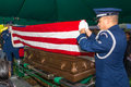 Air force funeral flag folding military honor guard Stock Image