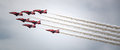 Air force stunt team red arrows flying in formation Royalty Free Stock Photos