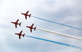 Air force stunt team red arrows flying in formation Stock Images