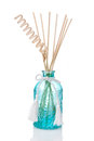 Air freshener bottle with scented sticks blue isolated on white Stock Photos