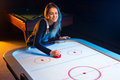 Air hockey game is fun even for adults Royalty Free Stock Photo