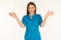 Air hostess in blue uniform. Royalty Free Stock Photo