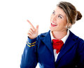 Air hostess pointing Stock Photos